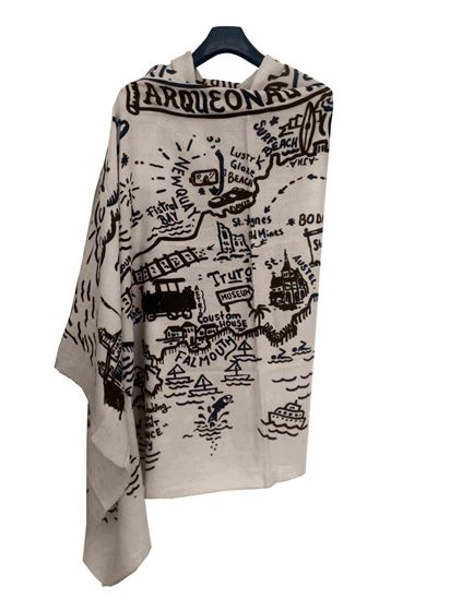 Picture of Off White Wool Print Scarf