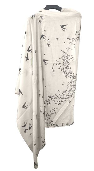 Picture of Soft Wool Scarf Black Bird Print