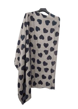 Picture of Wool Scarf Print Black Heart