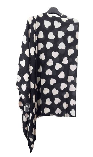 Picture of Wool Black Scarf White Heart