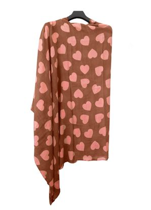 Picture of Hogaz Brown Wool Scarf Pink Heart