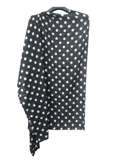 Picture of White Polka Dot Hogaz Black Wool Scarf