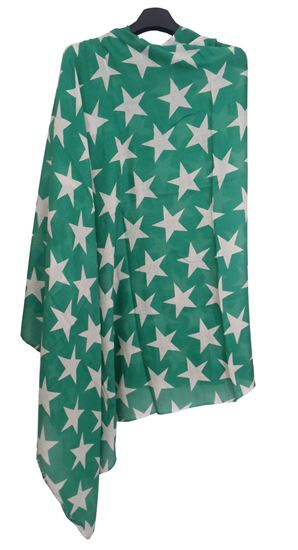 Picture of Wool Green Scarf White Star
