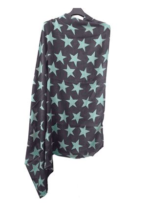 Picture of Wool Scarf Blue Color Print Blue Star
