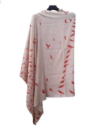 Picture of Soft Wool Scarf Red Bird Print