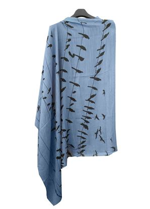 Picture of Soft Wool Scarf Print Black Bird