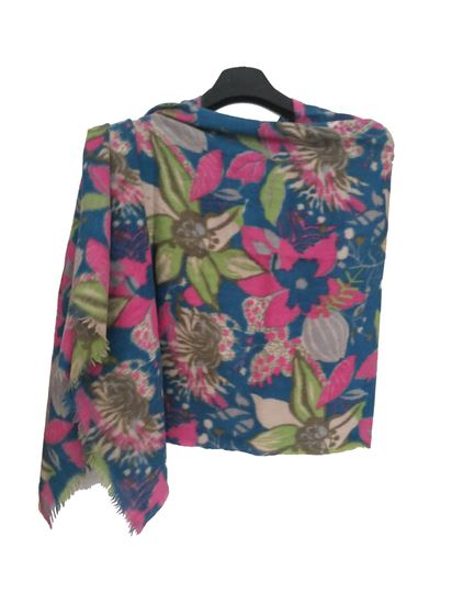 Picture of Wool Green Blue Pink Floral Scarf Multi Colour