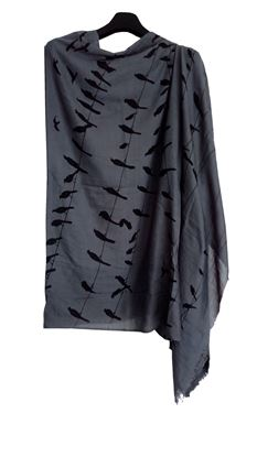 Picture of Soft Wool Hogaz Scarf Bird Print